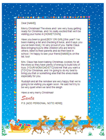 Printable Letter from Santa w/Customized P.S. (Sleigh Design) | Other Files | Documents and Forms