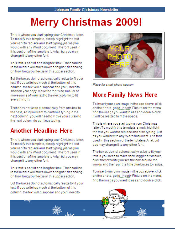 Christmas newsletter template blue snowman design for Christmas newsletter design ideas