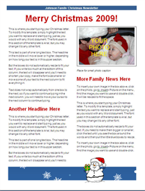 Christmas Newsletter Template - blue snowman design | Other Files | Documents and Forms