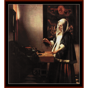 Woman Holding a Balance - Vermeer cross stitch pattern by Cross Stitch Collectibles | Crafting | Cross-Stitch | Other