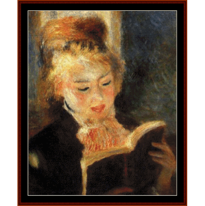woman reading - renoir cross stitch pattern by cross stitch collectibles