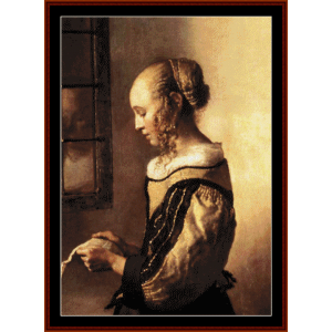 Woman Reading Letter - Vermeer cross stitch pattern by Cross Stitch Collectibles | Crafting | Cross-Stitch | Wall Hangings
