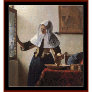 woman with water jug - vermeer cross stitch pattern by cross stitch collectibles