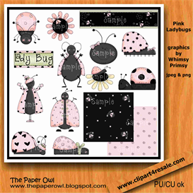 Pink Ladybugs Scrap Kit