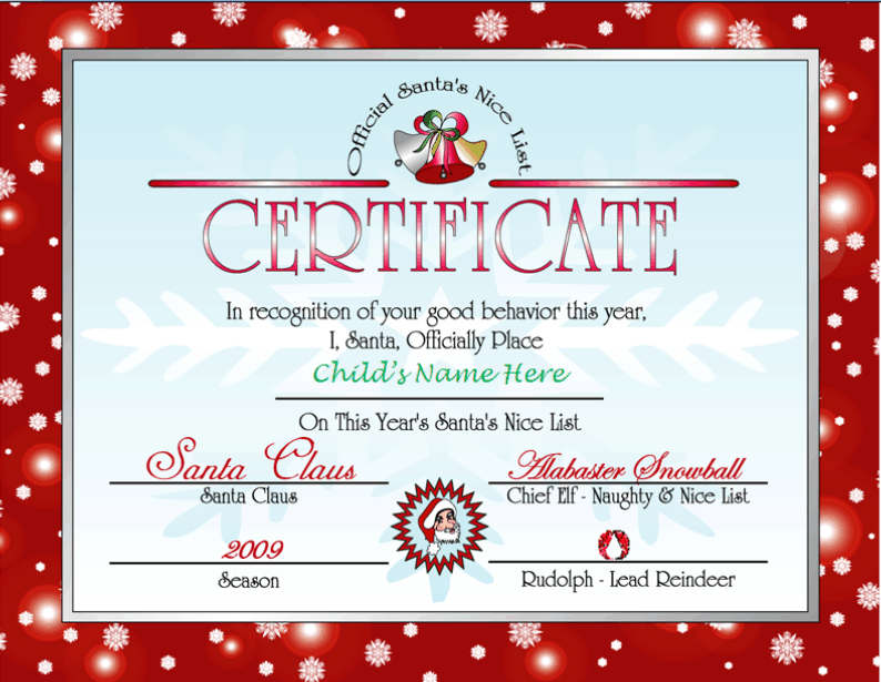 Santas Nice List Certificate Red Other Files – Santa List Template