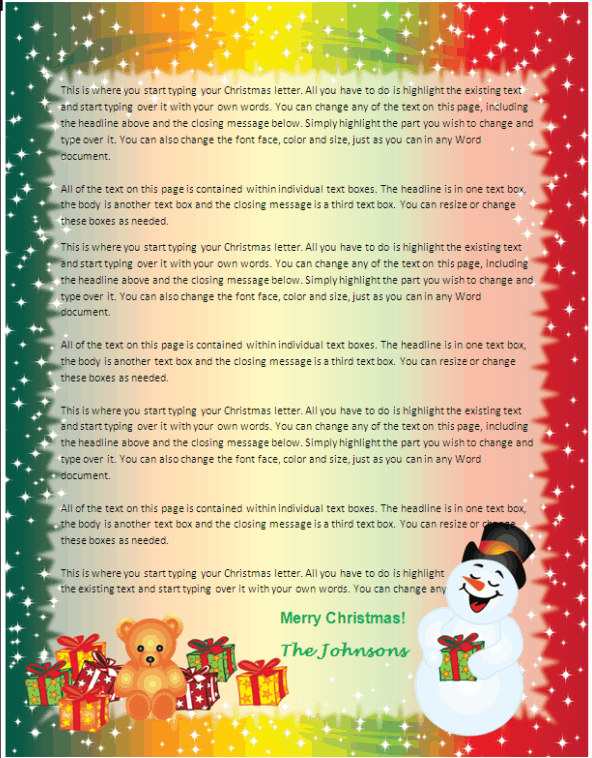 Family Christmas Letter Paper   Snowman Gifts | Other Files | Patterns And  Templates  Microsoft Word Christmas Letter Template