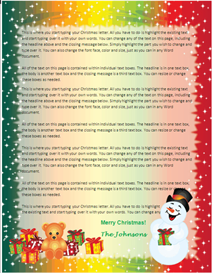 Family Christmas Letter Paper - Snowman Gifts | Other Files | Patterns and Templates