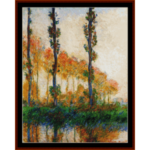 Three Trees in Autumn - Monet cross stitch pattern by Cross Stitch Collectibles | Crafting | Cross-Stitch | Wall Hangings
