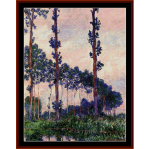 three trees in grey weather - monet cross stitch pattern by cross stitch collectibles