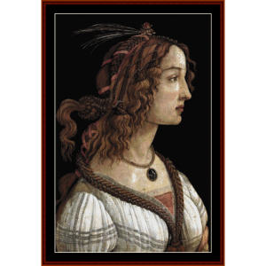 Portrait of a Woman II - Botticelli cross stitch pattern by Cross Stitch Collectibles | Crafting | Cross-Stitch | Wall Hangings