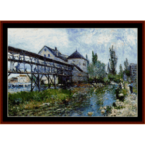 Provencer's Mill at Moret - Sisley cross stitch pattern by Cross Stitch Collectibles | Crafting | Cross-Stitch | Wall Hangings