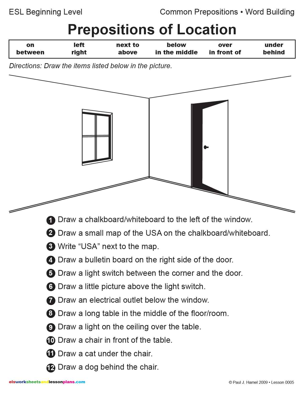Prepositions Of Location Worksheets - Viewing Gallery