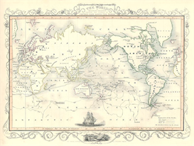 The World with Captain Cook's Voyages 1853 | Other Files | Stock Art