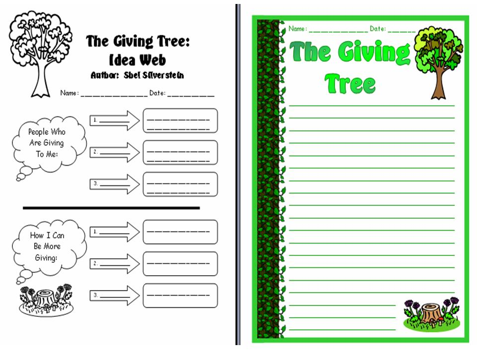 Printables The Giving Tree Worksheets the giving tree creative writing worksheets and leaf templates set other files documents forms