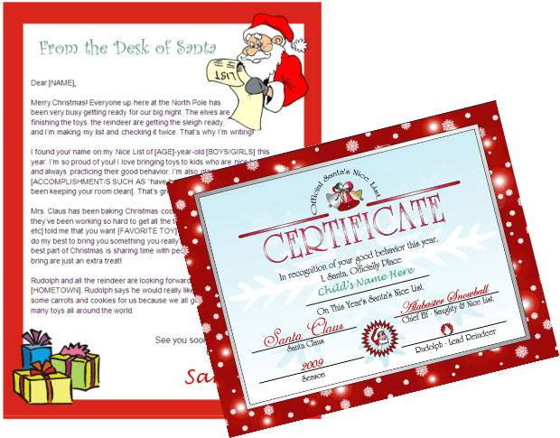 Printable Letter From Santa And Nice List Certificate