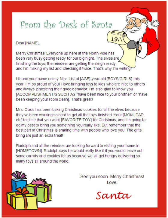 Printable Letter from Santa and Nice List Certificate – Santa List Template Printable