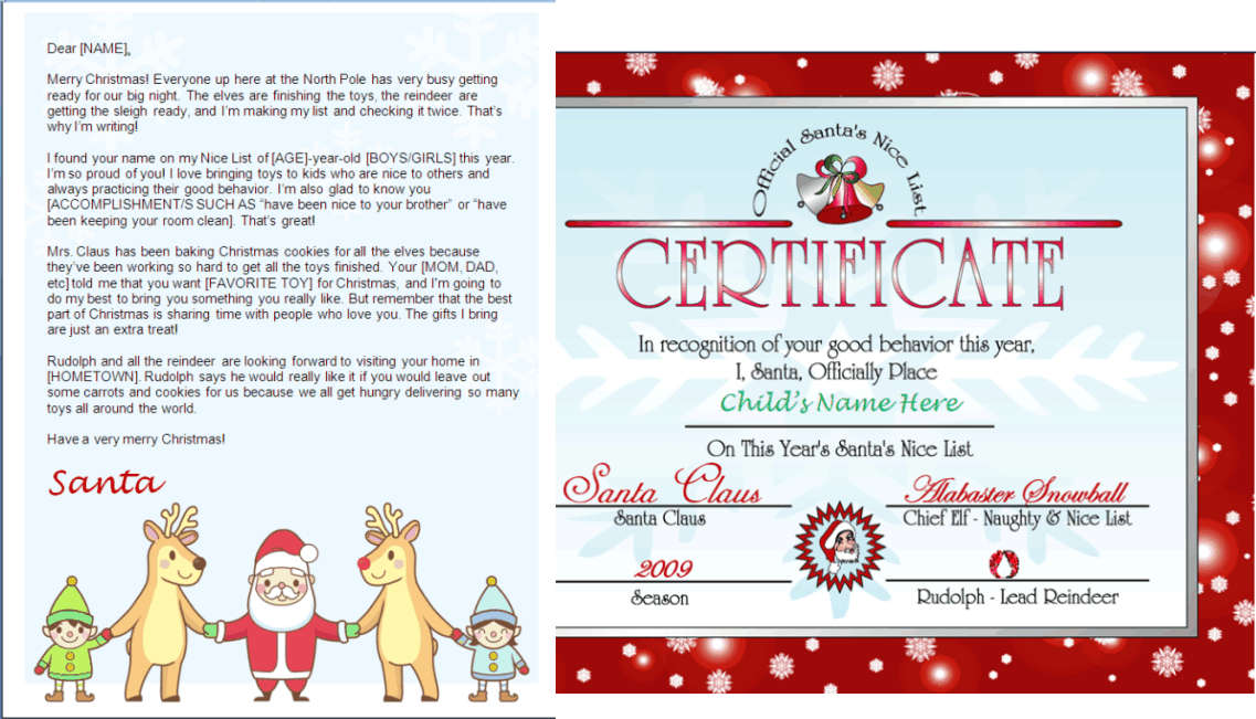 Printable Santa Letter And Nice List Certificate - Santa And