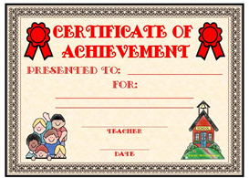 Certificate of Achievement Award