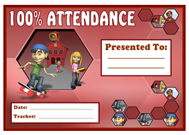 100% Attendance Skateboard Award | Other Files | Documents and Forms