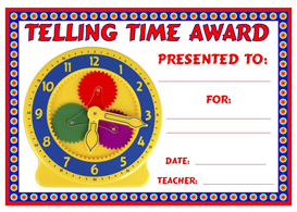 Telling Time Award | Other Files | Documents and Forms