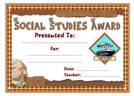 social studies award certificate