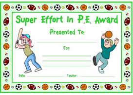 Super Effort In PE Award | Other Files | Documents and Forms