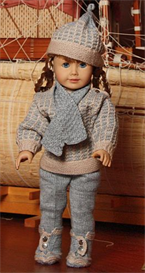 DollKnittingPattern 0035D KIRSTEN Sweater, Cap, Leggings, Shoes, Scarf, Mittens