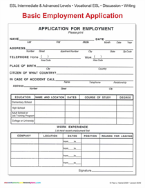 Esl / Basic Employment Application | Other Files | Documents and Forms