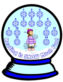 snow globe reading sticker chart set