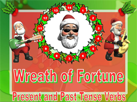 Wreath of Fortune Christmas Present and Past Tense Verbs | Other Files | Documents and Forms