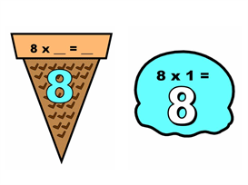 Math Multiplication 1-12 Ice Cream Scoops Display | Other Files | Documents and Forms