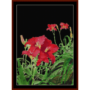 Red Day Lilies, Night - Floral cross stitch pattern by Cross Stitch Collectibles | Crafting | Cross-Stitch | Wall Hangings