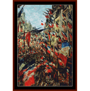 Rue Montargueil with Flags - Monet cross stitch pattern by Cross Stitch Collectibles | Crafting | Cross-Stitch | Wall Hangings