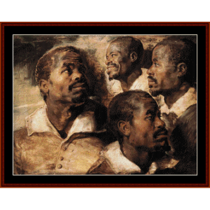 Study - Four Heads - Rubens cross stitch pattern by Cross Stitch Collectibles | Crafting | Cross-Stitch | Wall Hangings