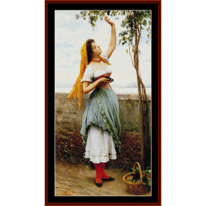 Grape Picker - Alma Tadema cross stitch pattern by Cross Stitch Collectibles | Crafting | Cross-Stitch | Wall Hangings