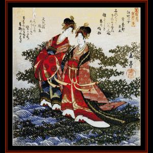 Ukiyo-e 4 - Asian Art cross stitch pattern by Cross Stitch Collectibles | Crafting | Cross-Stitch | Wall Hangings