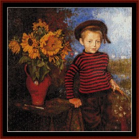 Boy with Sunflowers - Lemmen cross stitch pattern by Cross Stitch Collectibles | Crafting | Cross-Stitch | Wall Hangings