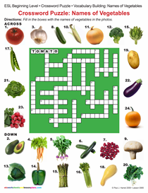 ESL / CROSSWORD PUZZLE:  NAMES OF VEGETABLES Item 0065 | Other Files | Documents and Forms