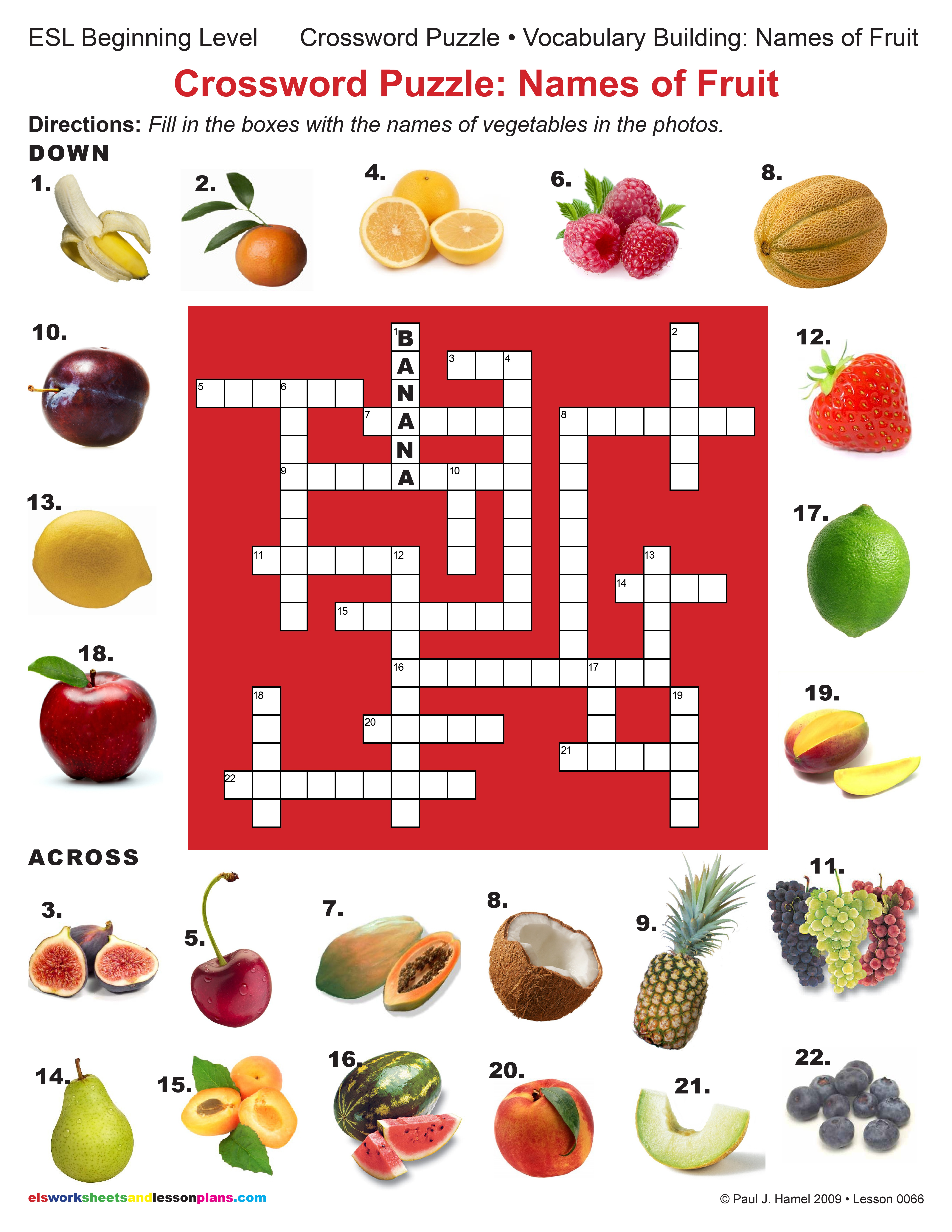 esl crossword puzzle names of fruit item 0066 other