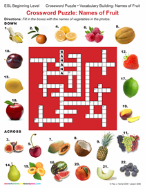 ESL / CROSSWORD PUZZLE:  NAMES OF FRUIT Item 0066 | Other Files | Documents and Forms