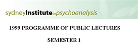 Sydney Institute For Psychoanalysis 1999 Public Lecture Series Term 1 | eBooks | Psychology & Psychiatry