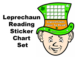 leprechauns love to read sticker chart set