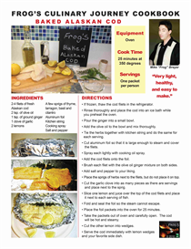 Frogs Culinary journey E-Cookbook /  Baked Alaskan Cod | Other Files | Documents and Forms