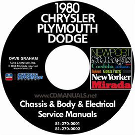 1980 Chrysler, Dodge, & Plymouth Service Manuals - All Models | eBooks | Automotive