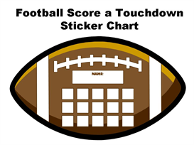 Football Score a Touchdown Sticker Chart Set | Other Files | Documents and Forms