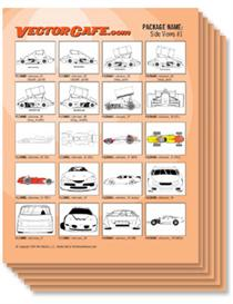 race car side views vector clip art #1