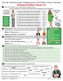 ESL / PRESENT PERFECT TENSE (1) Shopping Survey Item 0107 | Other Files | Documents and Forms