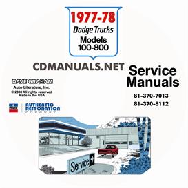 1977-1978 Dodge Pickup Truck & 4x4 Shop Manuals   eBooks   Automotive