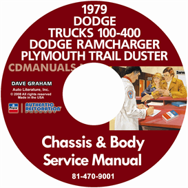 1979 Dodge 100-400 Pickup Truck, Ramcharger & Trail Duster Servi | eBooks | Automotive