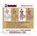 Sock Monkey Digital Stamp Clip Art - PERSONAL USE | Other Files | Clip Art